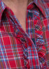 Charlie Woven Check Shirt - Dragon Red: VAT Exempt