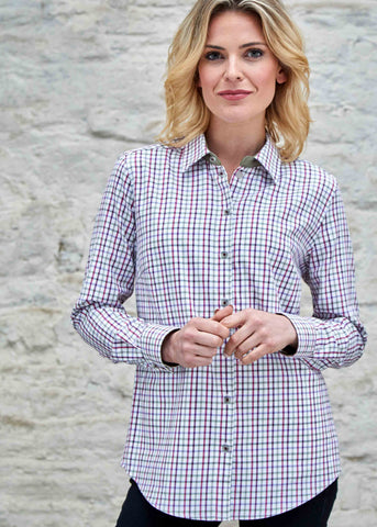 Charlie Pure Cotton Check Long Sleeve Velcro Shirt - Berry Red