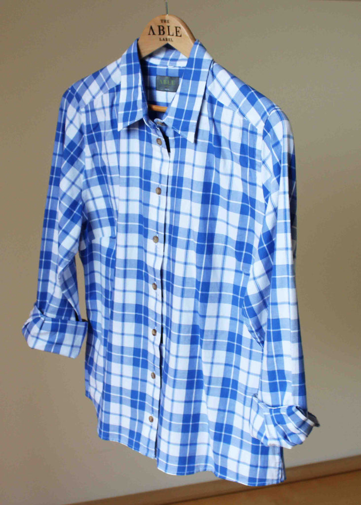 Charlie Woven Check Shirt - Med Blue