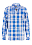 Charlie Pure Cotton Check Long Sleeve Velcro Shirt - Med Blue