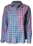 Charlie Pure Cotton Check Long Sleeve Velcro Shirt - Dark Plum