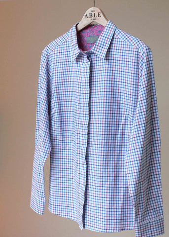 Charlie Pure Cotton Check Long Sleeve Velcro Shirt - Royal Blue