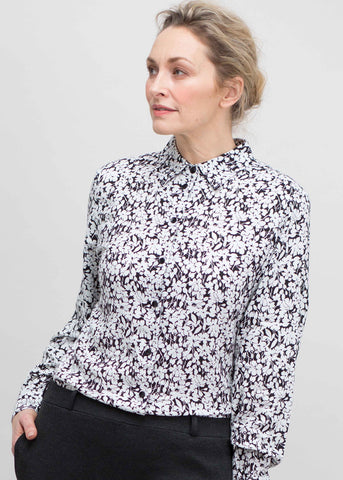 Charlie Pure Cotton Floral Print Long Sleeve Velcro Shirt - Black: VAT Exempt