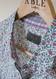 Charlie Pure Cotton Floral Print Long Sleeve Velcro Shirt - Plum/Green