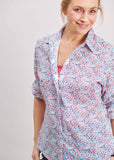 Charlie Pure Cotton Floral Print Long Sleeve Velcro Shirt - Royal Blue: VAT Exempt