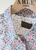 Charlie Pure Cotton Floral Print Long Sleeve Velcro Shirt - Royal Blue