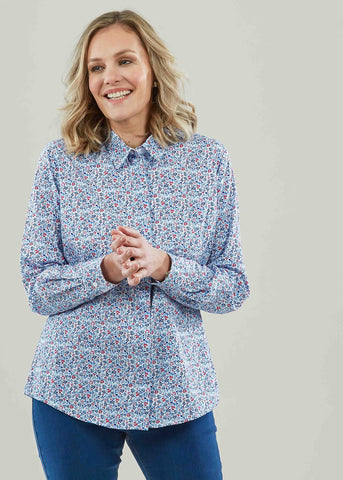 Charlie Pure Cotton Floral Print Long Sleeve Velcro Shirt - Berry