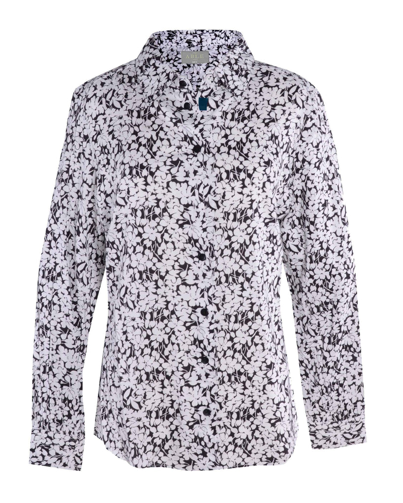 Charlie Pure Viscose Floral Print Long Sleeve Velcro Shirt - Black