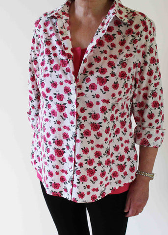 Charlie Woven Floral Shirt - Rose