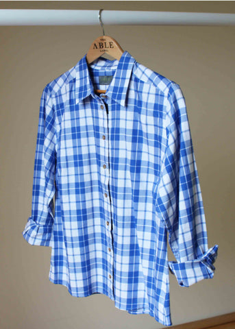 Charlie Pure Cotton Check Long Sleeve Velcro Shirt - Med Blue: VAT Exempt