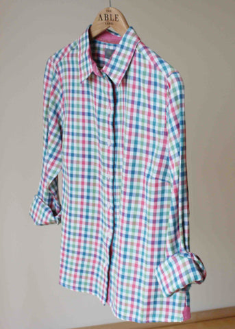 Charlie Woven Check Shirt - Deep Teal: VAT Exempt