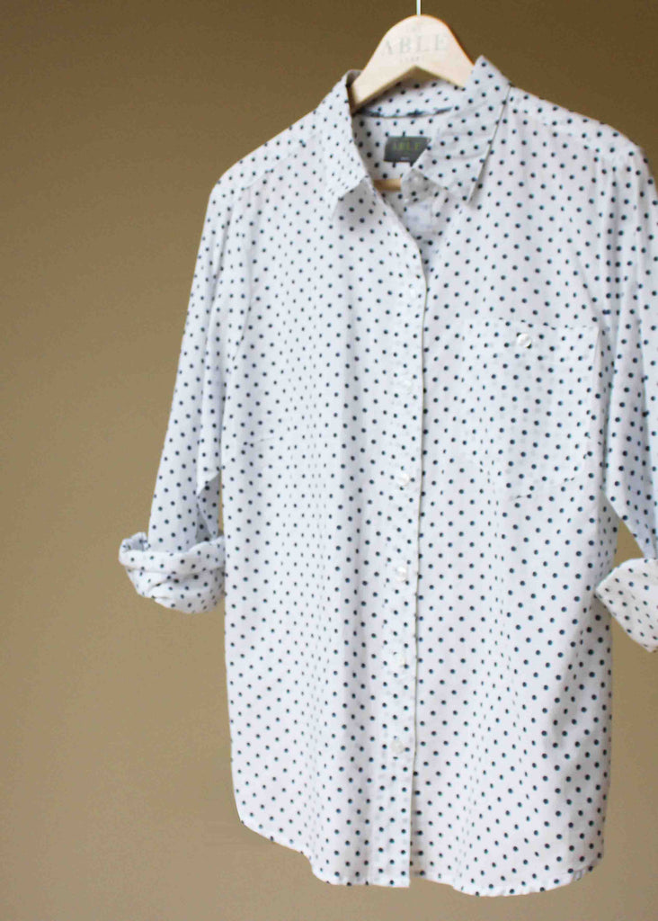 Charlie Woven Spot Shirt - White: VAT Exempt
