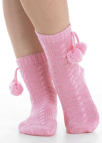 Charlotte Non-Slip Bed Socks - Pink Peony