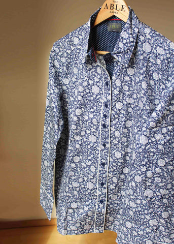 Charlotte Pure Cotton Long Sleeve Floral Velcro Shirt - Navy