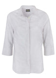 Ciara Floral Jaquard Linen Mix Half Sleeve Velcro Shirt - White