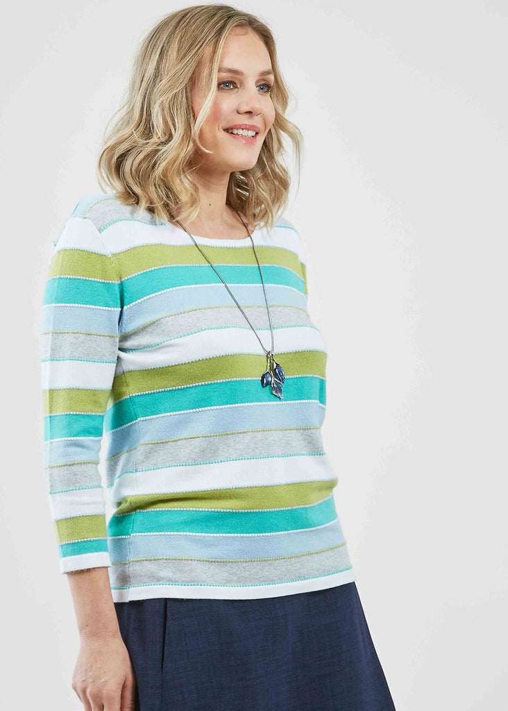 Clara Jersey Stretch 3/4 Sleeve Top - Lime