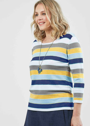Clara Jersey Stretch 3/4 Sleeve Top - Mustard