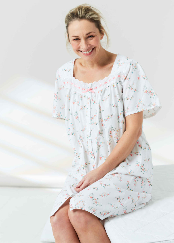 Clemence Floral Front Opening Short Sleeve Velcro Nightdress - Coral: VAT: Exempt