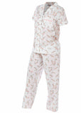 Clemence Floral Front Opening Short Sleeve Velcro PJ Set - Coral