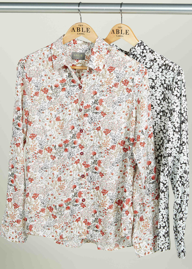 Cleo Pure Viscose Floral Print Long Sleeve Velcro Shirt - Harvest Print