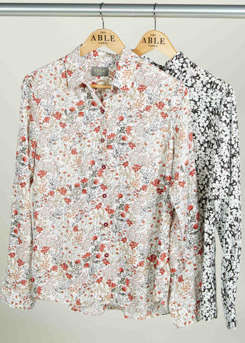 Cleo Pure Viscose Floral Print Long Sleeve Velcro Shirt - Harvest Print: VAT Exempt