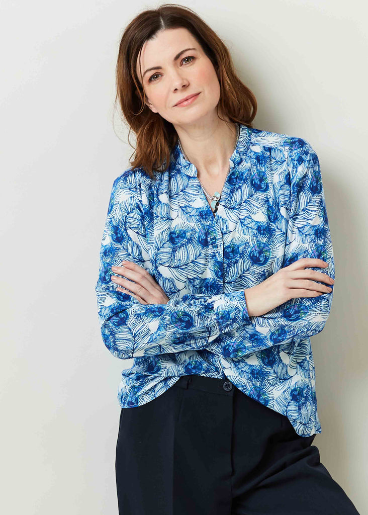 Cora Feather Print Viscose Long Sleeve Velcro Shirt - Peacock Print: VAT Exempt