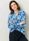 Cora Feather Print Viscose Long Sleeve Velcro Shirt - Peacock Print