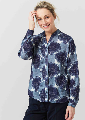 Cora Floral Print Viscose Long Sleeve Velcro Shirt - Storm Blue: VAT Exempt