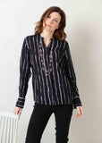 Cora Stripe Print Viscose Long Sleeve Velcro Shirt - Black
