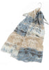 Crinkle Pure Cotton Aztek Print Scarf - Seaspray