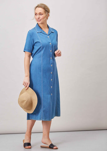 Daisy Denim Short Sleeve Velcro Shirt Dress - Denim