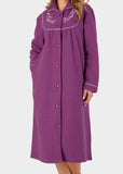 Daphne Velcro Boucle Fleece Dressing Gown - Plum: VAT Exempt
