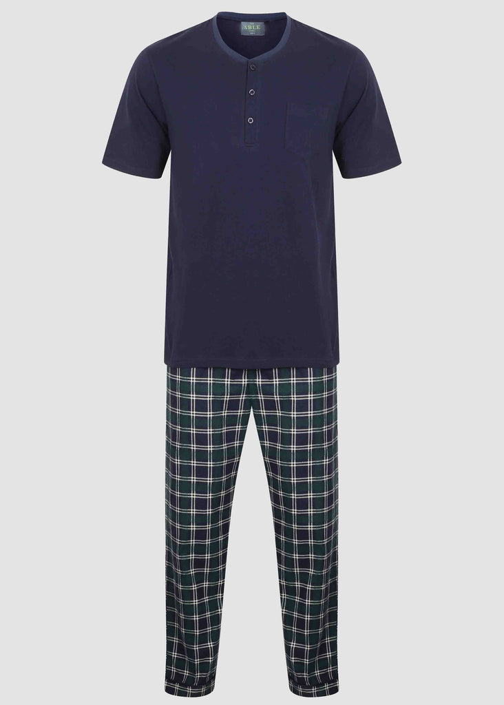 David Pure Cotton Velcro T-Shirt & Pull On Bottoms PJ Set - Green Check