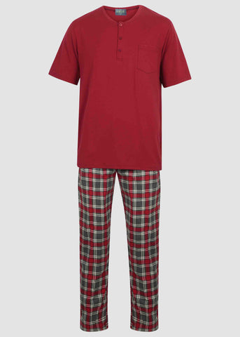 David Pure Cotton Velcro T-Shirt & Pull On Bottoms PJ Set - Red Check