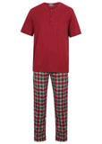 David Pure Cotton Velcro T-Shirt & Pull On Bottoms PJ Set - Red Check: VAT Exempt