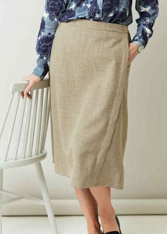 Delia A-Line Linen Look Velcro Wrap Skirt - Almond: VAT Exempt