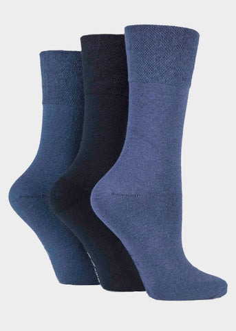 Diabetic Ladies Gentle Grip Socks 3 Pair Pack - Blues