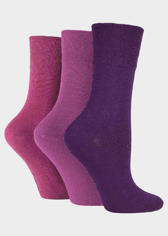 Diabetic Ladies Gentle Grip Socks 3 Pair Pack - Pinks