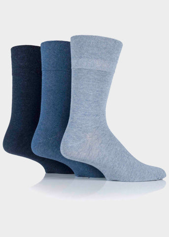 Diabetic Mens Gentle Grip Socks 3 Pair Pack - Blues