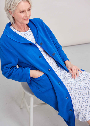 Diana Velcro Polar Fleece Dressing Gown - Med Blue: VAT Exempt