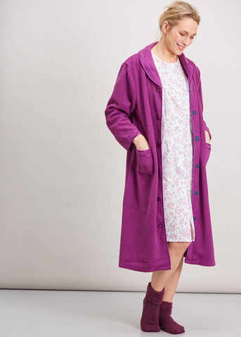 Diana Velcro Polar Fleece Dressing Gown - Plum Purple: VAT Exempt