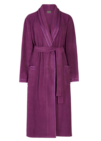 Diana Wrap Polar Fleece Dressing Gown - Plum Purple