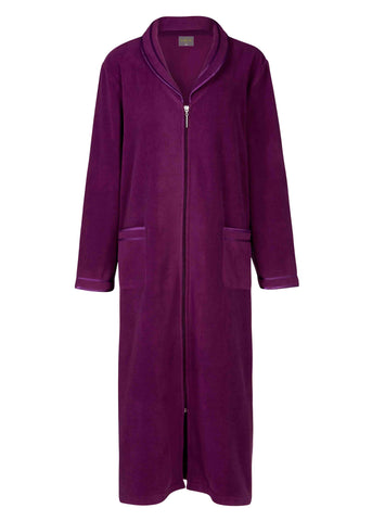 Diana Zip Through Polar Fleece Dressing Gown - Plum Purple