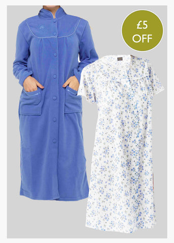 Easy Care Short Sleeve Velcro Nightdress Bundle - Med Blue