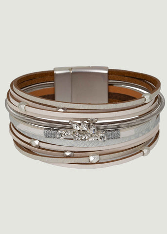 Edie Stacked Magnetic Clasp Bracelet - White
