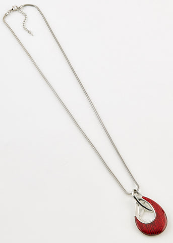 Elvie Long Line Pendant Necklace - Dragon Red