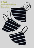 3 Pack Non-Medical Face Covering - Navy Striped Soft Jersey