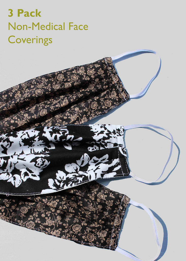 3 Pack Non-Medical Face Covering - Mixed Woven Florals