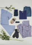 Matthew Pure Cotton Velcro Shirt & Pull On Bottoms PJ Set - Navy Check