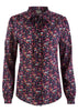 Felicity Floral Print Pure Cotton Long Sleeve Shirt - Navy Floral: VAT Exempt